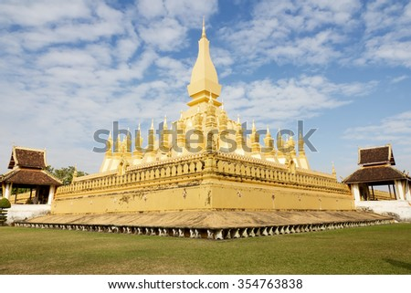 Pha That Luang, 'Great Stupa' is a gold-covered large Buddhist stupa in the centre of Vientiane, Laos. National monument in Laos and a national symbol. - stock photo