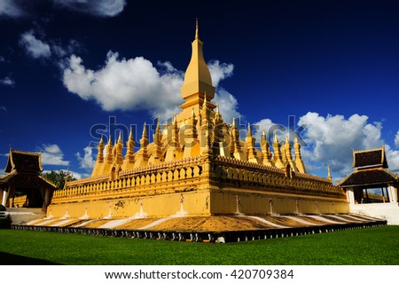 pha that luang in vientiane ,Laos famous tourist destination in asia. - stock photo