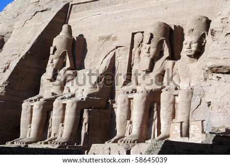 Phafaons on the wall of temple Ramzes II, Egypt - stock photo