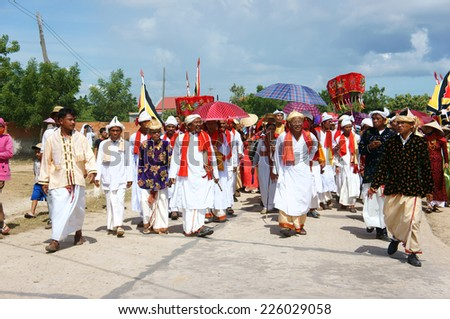 PHAN RANG, VIET NAM- OCT 22: Kate festival, charater traditional culture of Cham Awal (Cham Balamon) people, important ceremony of religion is pick up dress, hold on annual, Vietnam, Oct 22, 2014