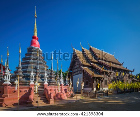 Phan Tao temple, Chiangmai, Thailand - stock photo