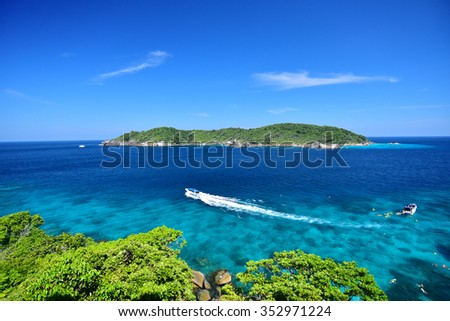 Phang Nga, Thailand - Dec 17 , 2015 : clear water beautiful sea like a heaven at Similan island, Phang-nga Thailand