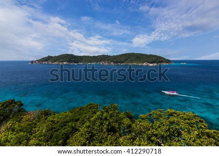 Phang-nga, Thailand - February 14, 2016: Similan Islands as a tourist destination featured in the beauty under the sea. the boat to take tourists snorkeling around the island.