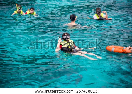 Phang-nga , Thailand  March 13 , 2015 Travelers are swimming and snorkeling in Andaman sea at Similan Island On March 13 ; 2015