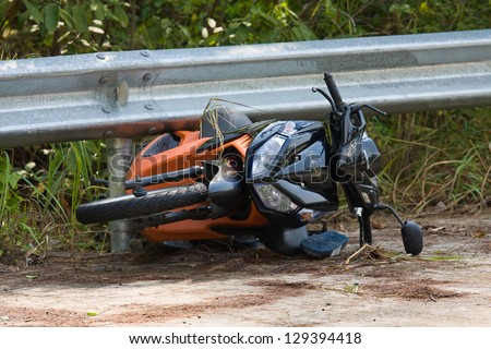 PHANGAN - FEBRUARY 25: Motorcycle accident that happened on the road on February 25, 2013 in Koh Phangan , Thailand . - stock photo