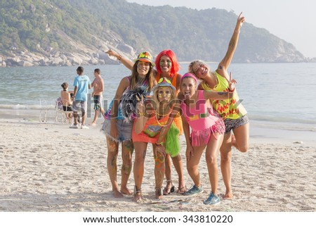 PHANGAN, THAILAND - JANUARY 5, 2015 :Unidentified people participate in the Full Moon party on island Koh Phangan.