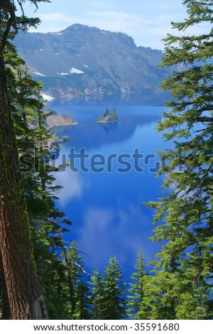 Phantom Ship, Crater Lake National Park, Summer, Oregon, United States - stock photo