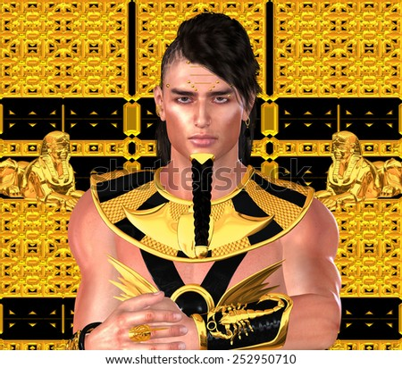Pharaoh in Egyptian modern digital art fantasy style. Ramses, King Tut or any Egyptian King. A gold and black background match his armor and show the strength and wealth of ancient Egypt. - stock photo