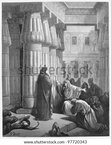 Pharaoh orders Moses to take the Israelites out of Egypt - Picture from The Holy Scriptures, Old and New Testaments books collection published in 1885, Stuttgart-Germany. Drawings by Gustave Dore. - stock photo