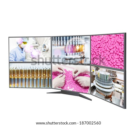 Pharmaceutical factory, vials, pills, people.Row of widescreen HD displays with multiple images isolated on white background.Split screen - stock photo