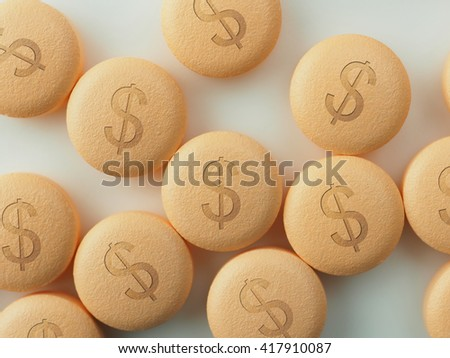 Pharmaceutical industry or Big Pharma. Tablets or pills with a dollar mark, on natural white background. Shallow depth of field due to subject size.