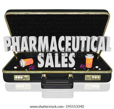 Pharmaceutical Sales 3d words medical salespeople presenting free samples - stock photo