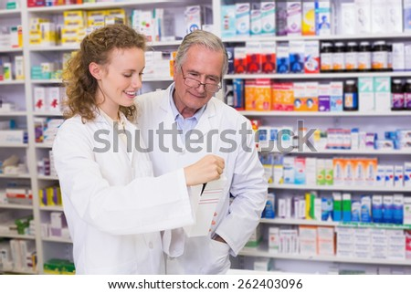 Pharmacist Trainee Talking Together About Medication Stock Photo ...