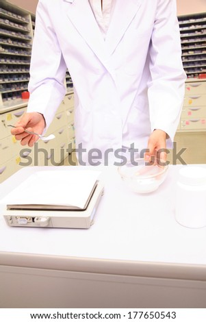 Pharmacist formulates the drug