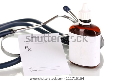 Pharmacist prescription with drops isolated on white - stock photo