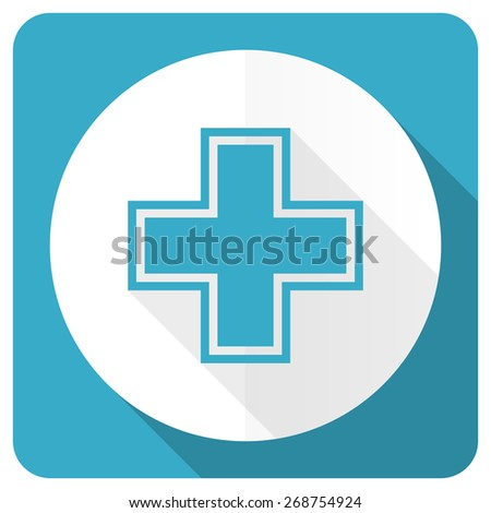 pharmacy blue flat icon   - stock photo
