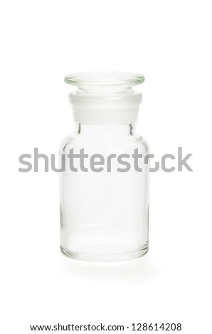 pharmacy bottle made of clear glass - stock photo