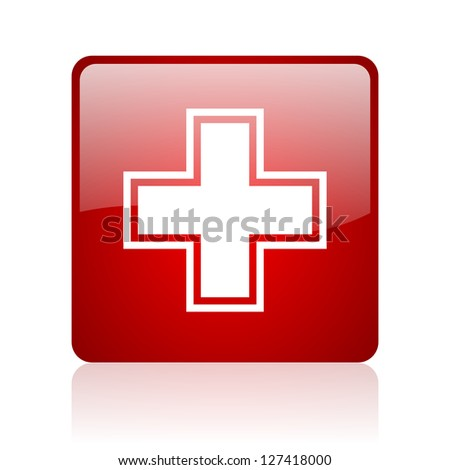 pharmacy red square glossy web icon on white background - stock photo