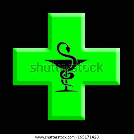 Pharmacy symbol on black background - stock photo