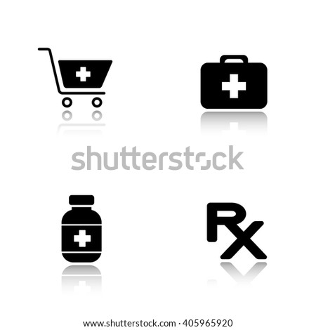 Pharmacy website drop shadow icons set. Drugstore shopping cart symbol with cross, medical chest, medicine pills box, prescription rx sign. Cast shadow logo concepts. Raster black illustrations - stock photo