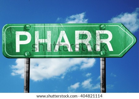 pharr road sign , worn and damaged look