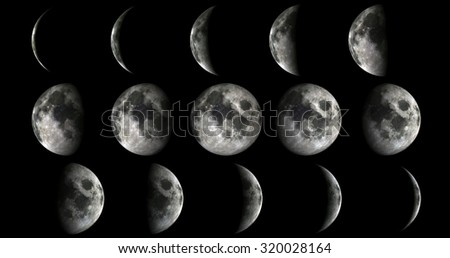 Phases of the moon from new to full. Elements of this image furnished by NASA - stock photo