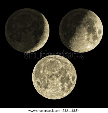 Phases of the Moon from young, half to full one. Mosaic photo.  - stock photo