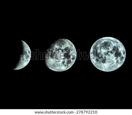 Phases of the Moon seen with telescope - cool cold tone - stock photo