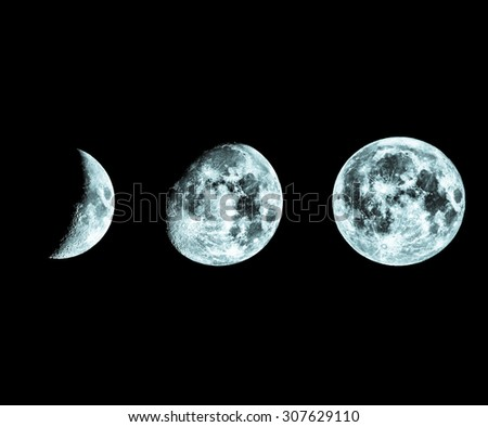 Phases of the Moon seen with telescope in black and white - cool cold tone - stock photo