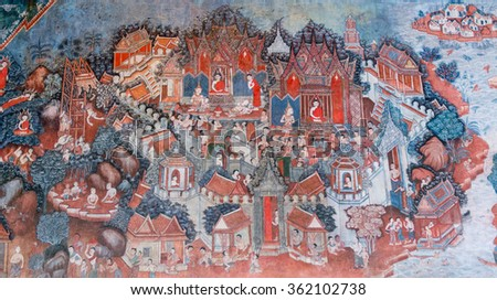 PHATTHALUNG, THAILAND -  AUGUST 22, 2015: Traditional Thai mural painting the Life of Buddha and Thai life style on wall of temple at Wat Wang (Phatthalung City, Thailand)