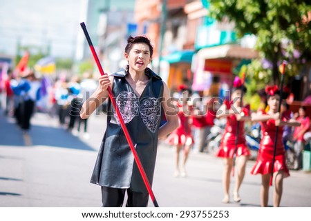 PHATTHALUNG THAILAND - JULY 3: Parade for sporting day of the Thamod School of Thailand on July 3, 2015 in Phatthalung, Thailand
