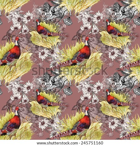 Pheasant animals birds in floral seamless pattern on brown background