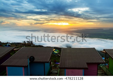 Phetchabun, August, 28, 2016 : Sunrise in the mountain and mist wave in Phu Thap Boek, Phetchabun Province, Thailand