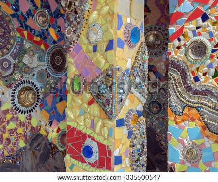 Phetchabun,Thailand - Apr.17, 2015:Thai mosaic colorful glass wall and walk path of (Wat Phra That Pha Son Kaew) Phetchabun thailand.