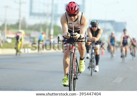 Phetchaburi, Thailand - March 19, 2016: The Amarin Outdoor Unlimited International Triathlon 2016 event at Naresuan Camp, Cha-am beach in Phetchaburi.
