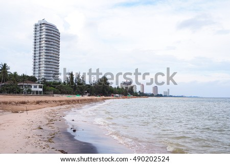 Phetchaburi, Thailand - SEPTEMBER 24, 2016: Beautiful Seashore of Cha-Am Beach