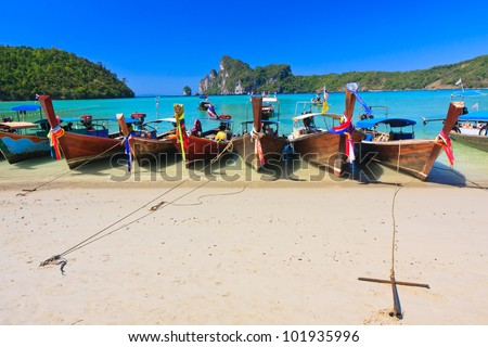Phi Phi Island - Traditional longtail boat  in Loh Dalum Bay, Thailand