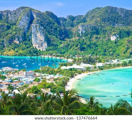 Phi-Phi island View tropical island with resorts -  Krabi Province thailand - stock photo