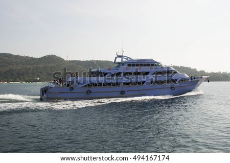 Phi Phi, Thailand - February 24,2016:Ferry on the island of Phi Phi Thailand