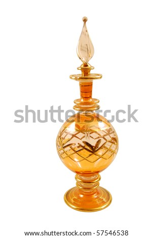 Phial of perfume or elixirs Arab bill on white background