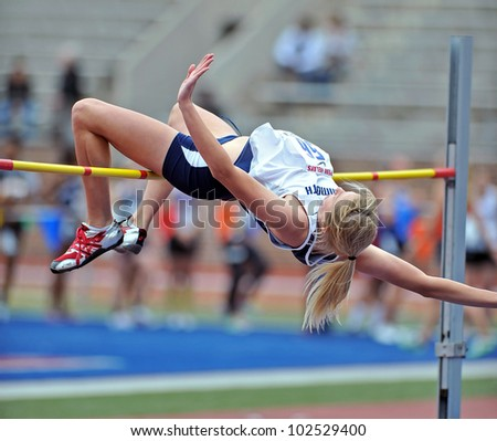 PHILADELPHIA - APRIL 26: Alison Day from Monmouth competes in the ladies college high jump at the Penn Relays April 26, 2012 in Philadelphia.