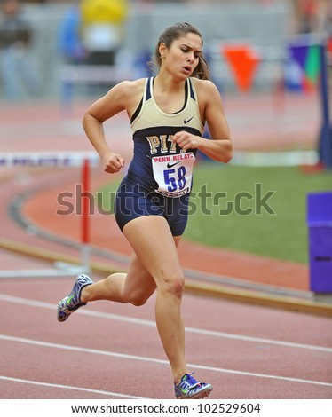 PHILADELPHIA - APRIL 26: Amanda Kuhl from Pitt competes in the ladies 400 meter college championships at the Penn Relays April 26, 2012 in Philadelphia.