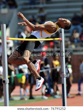 PHILADELPHIA - APRIL 29: Bowie State high jumper Jonathan Harper attempts to clear the bar early in the College Men's High Jump Competition at the 117th Penn Relays on April 29, 2011 in Philadelphia, PA