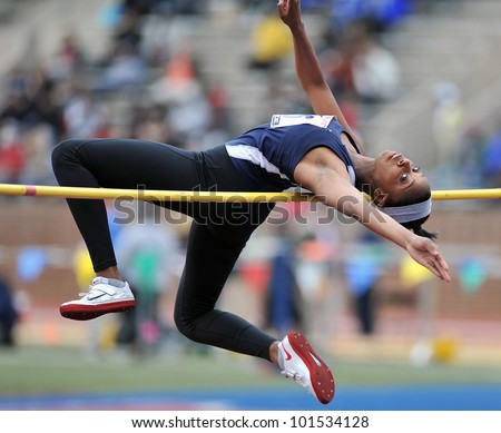 PHILADELPHIA - APRIL 26: Erika Hurd from Manchester Valley HS competes in the girls high school high jump championship at the Penn Relays April 26, 2012 in Philadelphia. - stock photo