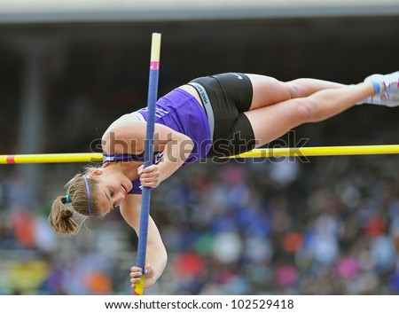 PHILADELPHIA - APRIL 26: Kennedy Shank from Northern goes over the bar in the girls high school pole vault championships at the Penn Relays April 26, 2012 in Philadelphia.