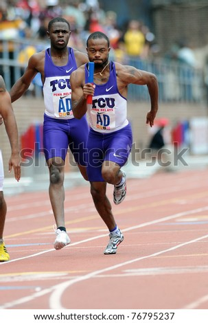 PHILADELPHIA - APRIL 29: Mychal Dungey, a member of the TCU men's 4x100 relay team, takes off on the third leg of a heat at the 117th Penn Relays on April 29, 2011 in Philadelphia, PA
