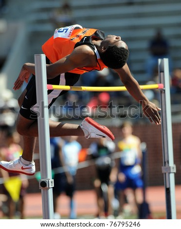 PHILADELPHIA - APRIL 29: Princeton high jumper Omar Jarrett attempts to clear the bar early in the Eastern College Men's High Jump Competition at the 117th Penn Relays on April 29, 2011 in Philadelphia, PA