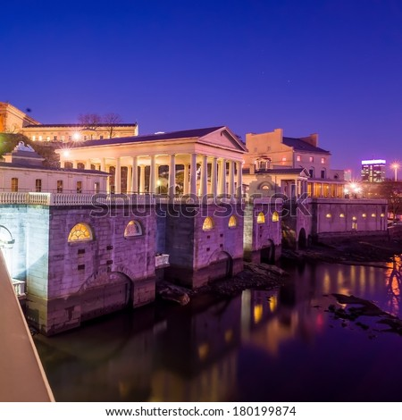 Philadelphia Art Museum and Fairmount Water Works at Dusk - stock photo