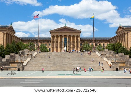 Philadelphia art museum entrance - Pennsylvania - USA - stock photo