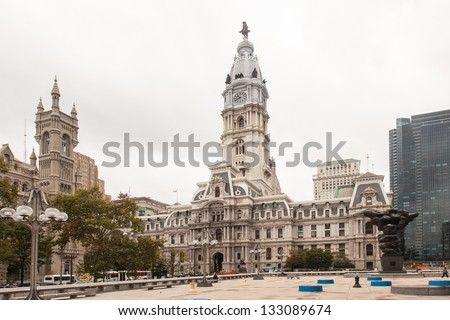 Philadelphia City Hall is the house of government for the city of Philadelphia, Pennsylvania. - stock photo